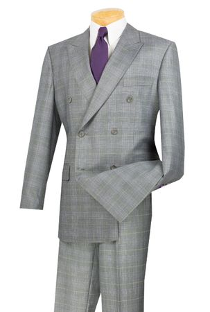 Double Breasted Suit Men Gray Plaid Vinci DRW-1