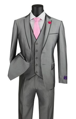 Gray Skinny Fitted Prom Suit 3 Piece Fancy Trim USVD-2