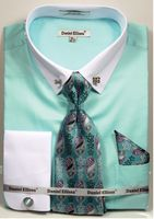 Mens Mint White Collar Bar Style Dress Shirts Tie Combo DS3790P2