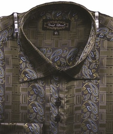 Mens High Collar Shirts DE Fancy Design FSS1404 Olive - click to enlarge