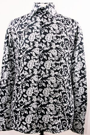 High Collar Club Shirt Black/White Shiny Floral Design Mens DE FSS1418