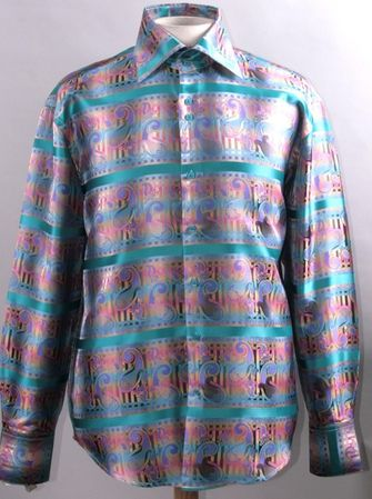 High Collar Club Shirt Multi Shiny Paisley Stripe Design Mens DE FSS1420