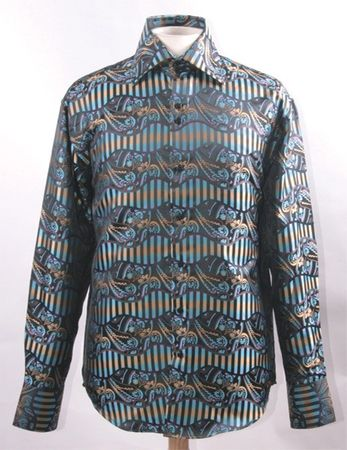 High Collar Fancy Club Shirts for Men Multi Shiny Paisley FSS1422