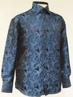 High Collar Club Shirt Teal Shiny Floral Design Mens DE FSS1402