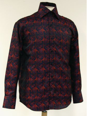High Collar Fashion Shirts Mens Navy Red Paisley DE FSS1409