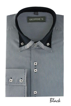 High Collar Shirt Mens Black Fine Stripe 3 Button AH602 - click to enlarge