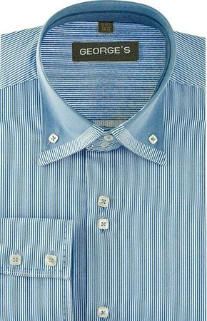 High Collar Shirt Mens Light Blue Fine Stripe 3 Button AH602 - click to enlarge