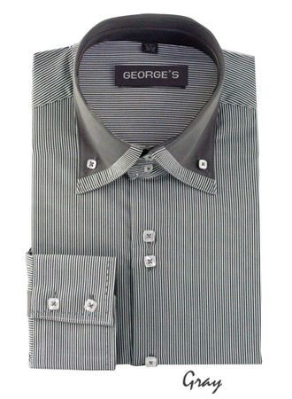 High Collar Shirt Mens Grey Fine Stripe 3 Button AH602 - click to enlarge