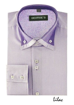 High Collar Shirt Mens Lavender Fine Stripe 3 Button AH602 - click to enlarge