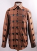 High Collar Style Shirts Men's Orange Rust Shiny Cubes FSS1421