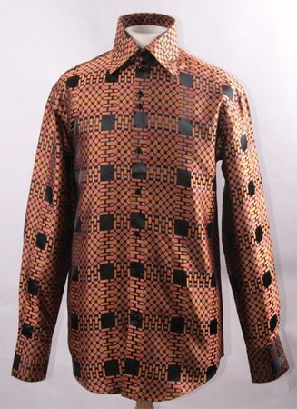 High Collar Style Shirts Men's Orange Rust Shiny Cubes FSS1421 - click to enlarge