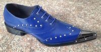 Zota Mens Blue Leather Metal Pointy Toe Shoes G908-34