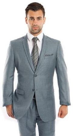Men's Skinny Fitted Slim Suits Smoke Blue Heather Sharkskin One Vent Tazio M181S-02 Size 48L Final Sale