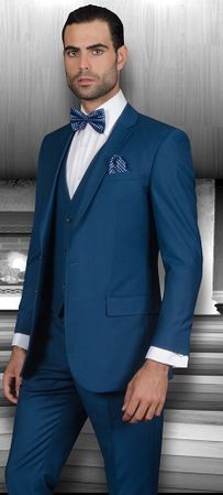 Slim Fit Suits by Statement Mens 3 Piece Indigo Wool Lorenzo Size 42 long Final Sale