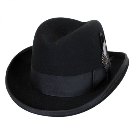 Black Homburg Hat 100% Wool Felt Capas