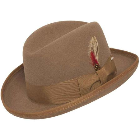 Beige Homburg Hat 100% Wool Felt Capas - click to enlarge
