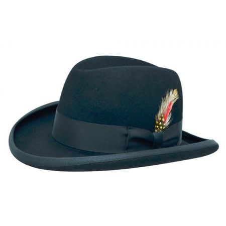 Navy Blue Homburg Hat 100% Wool Felt Capas