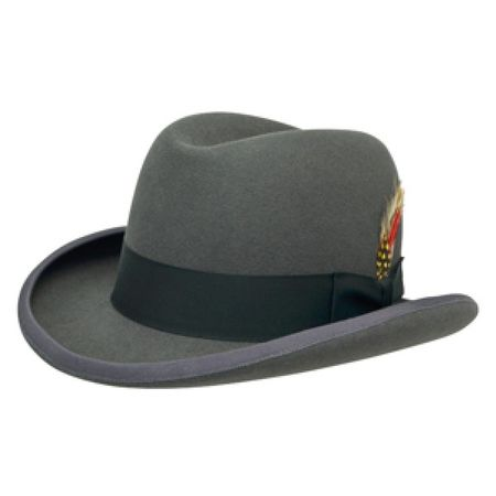 Mens Gray Homburg Hat 100% Wool Felt Capas