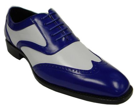 Bolano Mens Royal White Two Tone Wingtip Dress Shoes Phil