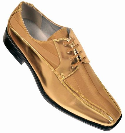 Tuxedo Shoes Mens Gold Stripe Bolano 179 IS Size 8.5,10