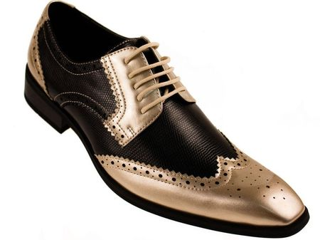 Amali Mens Gold Black Two Tone Wing Tip Shoes Htm - click to enlarge