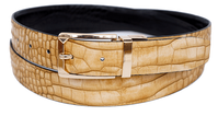Bruno Capelli Mens Beige Black Crocodile Print Belt BC-1556