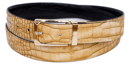 Bruno Capelli Mens Beige Black Crocodile Print Belt BC-1556 - click to enlarge