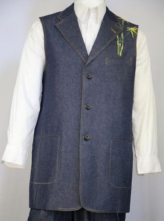 Canto Mens Black Chinese Embroidered Pattern Denim Long Vest Outfit 9080