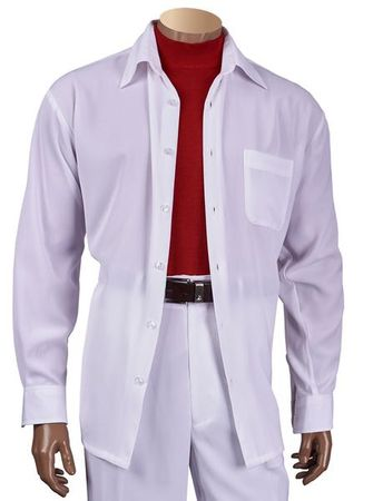 Inserch All White Outfit for Men Microfiber Long Sleeve 13A56