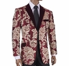 Inserch Floral Mens Smoking Jacket Burgundy Blazer 5244-31