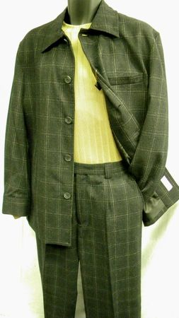 Leisure Suits by Inserch Black Wool Plaid 1631 - click to enlarge