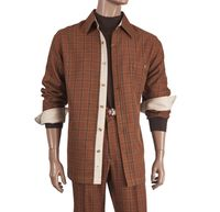 Inserch Men's Copper Color Plaid Casual Walking Outfit 134