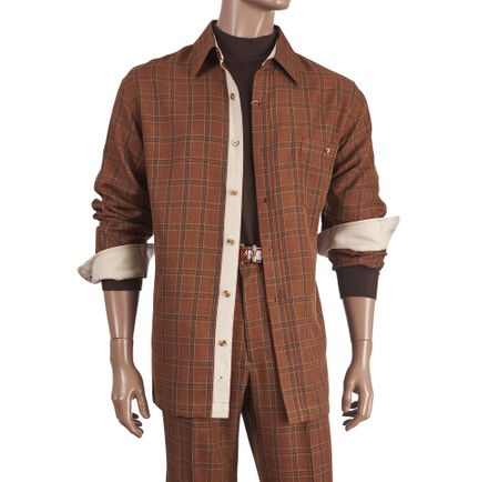 Inserch Men's Copper Color Plaid Casual Walking Outfit 134 - click to enlarge