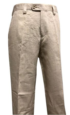 Inserch Linen Pants for Men Beige Tan Flat Front P3110-06