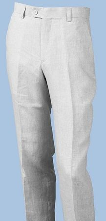 Inserch Linen Pants for Men White Flat Front P3110-02