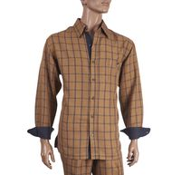 Inserch Men's Camel Plaid Casual Walking Outfit 134