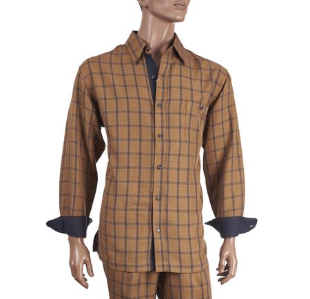 Inserch Men's Camel Plaid Casual Walking Outfit 134 - click to enlarge