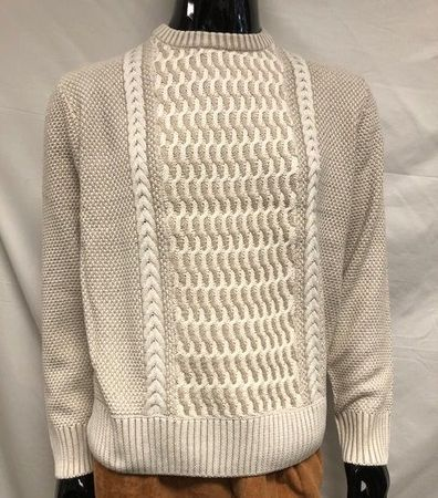 Inserch Men's Cotton Blend Sweater Tan Cable Knit SW001-15