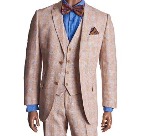 Mens Linen Suit by Inserch Stone Tan Plaid 3 Piece 660124B-15 IS