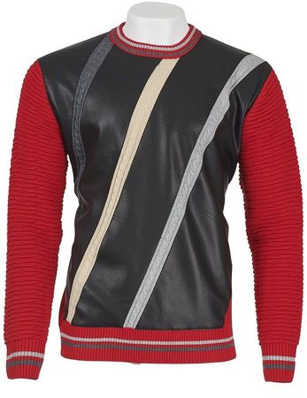 Inserch Men's Red Black Vegan Leather Front Sweater 456
