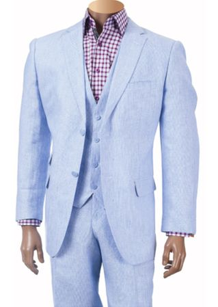 Inserch Men's Sky Blue 3 Piece Linen Suit 660119B-12