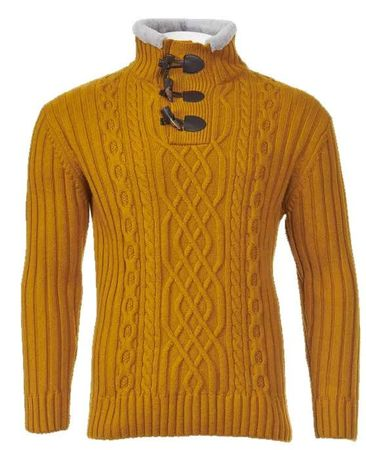 Inserch Men's Sweater Rust Gold Cable Knit Fur Trim 453