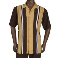 Inserch Men's Brown Panel Casual Walking Outfit 80356-25