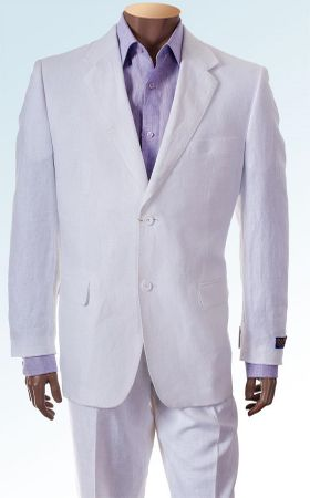 Inserch Mens White Linen Suit Italian Style 2 Piece 66010 (IS)