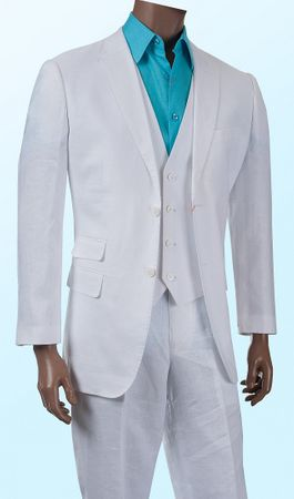 Mens White Linen 3 Piece Suit Single Breasted Inserch 66010B-02