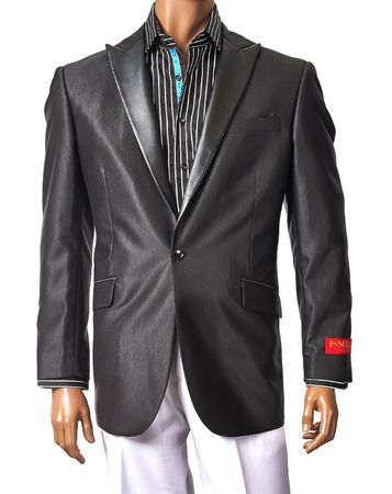 Inserch Mens Black Faux Leather Lapel Sport Jacket 548-01 - click to enlarge