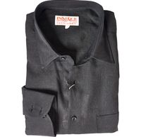 Inserch Mens Black Linen Shirt Long Sleeves 24116-01