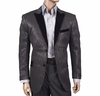 Inserch Mens Black Streak Pattern Velvet Trim Blazer 5243-01