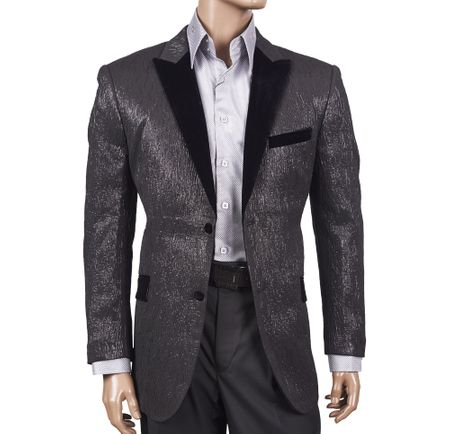 Inserch Mens Black Streak Pattern Velvet Trim Blazer 5243-01 - click to enlarge