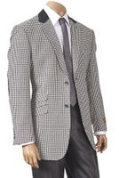 Inserch Mens Black White Hounds Tooth Sport Jacket 504B